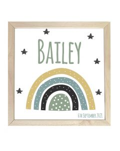 Wooden Framed Sign  Name Plaque Dotty Rainbow