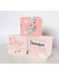 Elephant Pink Large Personalised Wooden Trio Birth Block Sets