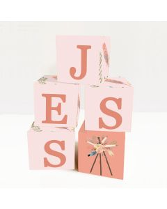 Wooden Letter Name Blocks Pink Feather Boho
