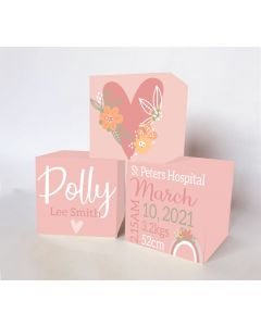 Floral Heart Large Personalised Wooden Trio Birth Block Sets