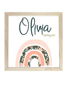Wooden Framed Sign  Name Plaque Floral Rainbow