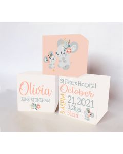 Little Mouse  Large Personalised Wooden Trio Birth Block Sets