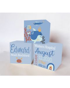 Nautical Whale  Large Personalised Wooden Trio Birth Block Sets