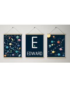 Space Print Solar Alphabet Name Print Set Nursery Decor