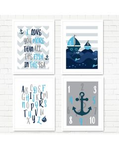 Nautical, Sea, Anchor Print Set