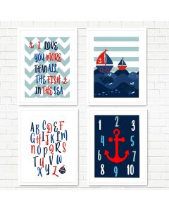 Nautical, Sea, Red,  Anchor Print Set
