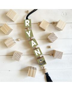 Hanging Wooden Name Blocks Army Animal Theme Various Colour options