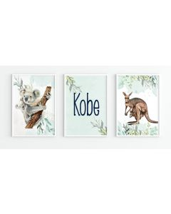 Australian Koala Personalised Watercolour Print Set Nursery Decor