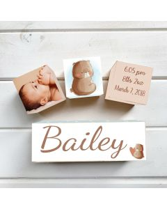 Personalised with Your Picture Bear Hug Birth Block Set