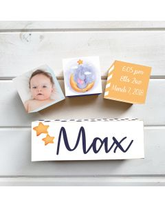 Personalised with Your Picture Star Elephant Birth Block Set