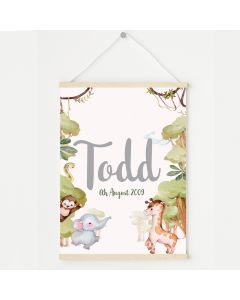 Baby Jungle Animals Name Print, Hanging Personalised Nursery Decor
