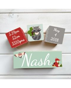 Woodland Red Birth Block Set
