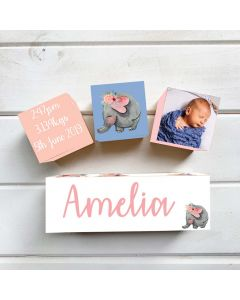 Personalised with Your Picture Elephant Floral Birth Block Set