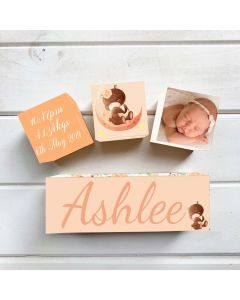 Personalised with Your Picture Sleeping Bear Birth Block Set