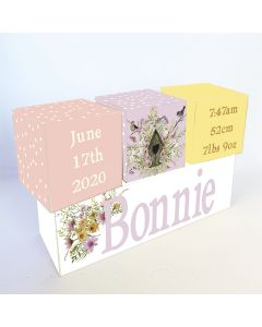 Floral Birdhouse Personalised Wooden Birth Block Set