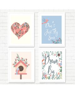 Bird House Floral Print Set