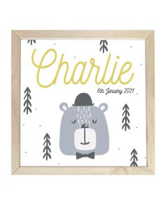Wooden Framed Sign  Name Plaque Charlie Bear