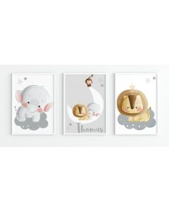 Cloud Trio Personalised Nursery Trio Print