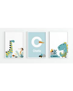 Funky Dino Personalised Watercolour Print Set Nursery Decor