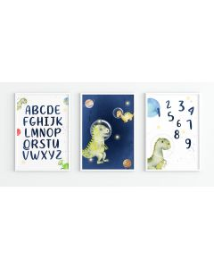 Dinosaur Space Watercolour Print Alphabet Print Set Nursery Decor
