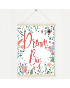 Dream Big Floral Bird Print, Hanging Personalised Nursery Decor