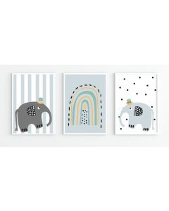 Elephant Rainbow Nursery Trio