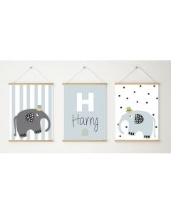 Elephant Rainbow Nursery Name Print Trio