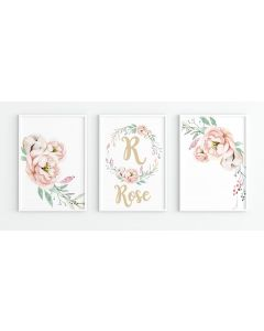 Pastel Floral Golden  Personalised Watercolour Print Set Nursery Decor