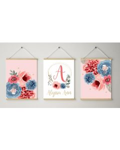 Pink Floral Golden  Personalised Watercolour Print Set Nursery Decor