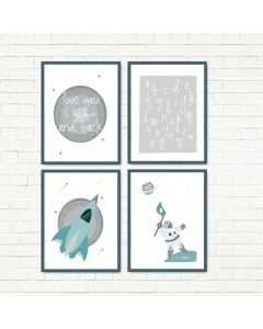 Love to the Moon Grey Print Set Multiple Print Choices