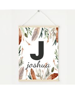 Feather Woodland Alphabet Print, Hanging Personalised Nursery Decor