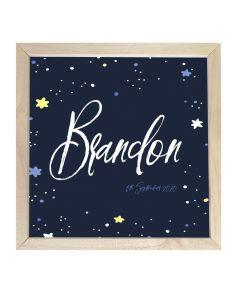 Wooden Framed Sign  Name Plaque Star Night