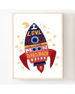 Love to the Moon and Back  Print or Hanging Nursery Decor