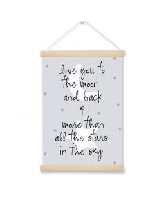 Love you to the Moon & Back Grey Art Hanging Picture