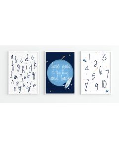 Love you to the Moon and Back Space Alphabet Print Set Nursery Decor