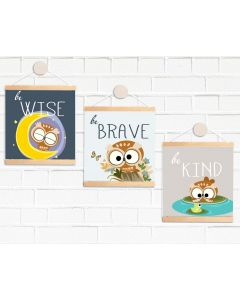 Hanging Mini Print Pendant Flags Owl be Wise