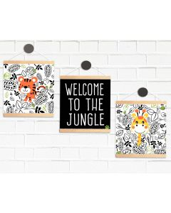 Hanging Mini Print Pendant Flags Be Jungle Welcome