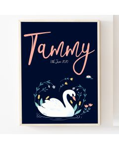 Swan Navy  Name Print, Hanging Personalised Nursery Decor