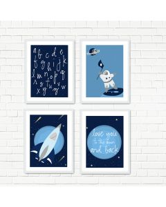 Love to the Moon Navy Print Set Multiple Print Choices