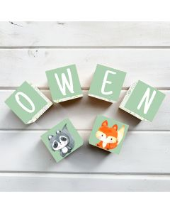Wooden Letter Name Blocks Woodland Green Personalised