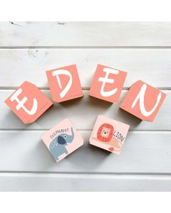 Wooden Letter Name Blocks Pink Jungle  Personalised