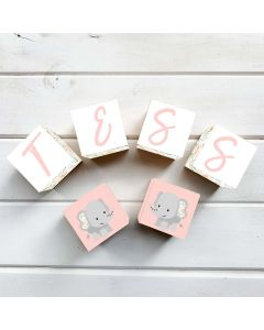 Wooden Letter Name Blocks Floral Elephant Personalised
