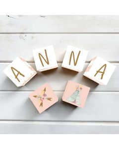 Wooden Letter Name Blocks Floral Tepee Personalised