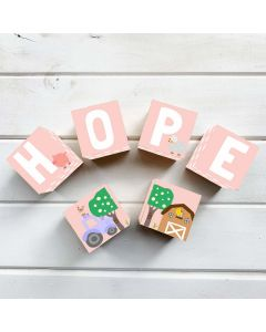Wooden Letter Name Blocks Farm Animal Pink Personalised