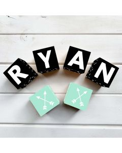 Wooden Letter Name Blocks Black Triangle Personalised