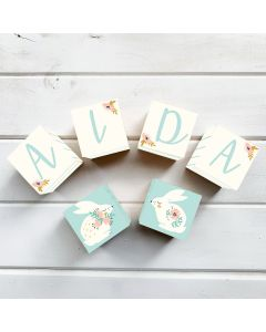Wooden Letter Name Blocks Pretty Bunnies Personalised