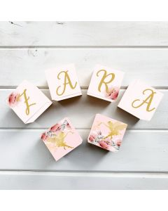 Wooden Letter Name Blocks Gold Fairy Personalised