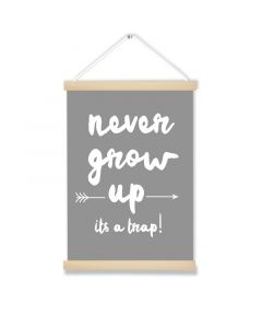 Never Grow Up Gray Art Hanging Picture