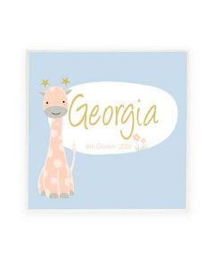 Personalised Name Plaque/ Door Sign Blue Giraffe