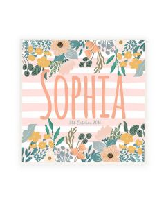 Personalised Name Plaque Door Sign Floral Stripes